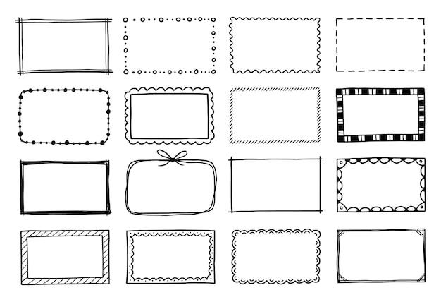 長方形フレームの手描きセット