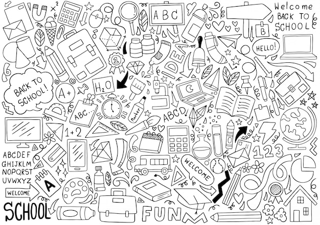 手描きの学校アイコン飾りの背景パターンのセット