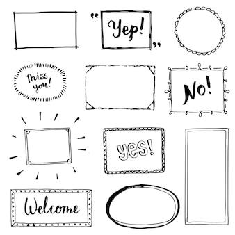 Набор рисованной простой рамки и границы с различными формами: сердце, квадрат, овал. вырежьте изолированные векторные иллюстрации для вашего дизайна баннера. стиль эскиза каракули. элемент кадра, нарисованный кистью-пером.
