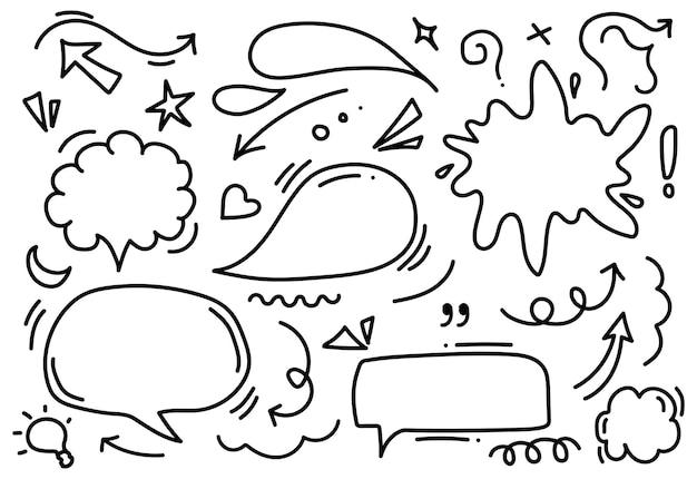 吹き出しの手描きのセット
