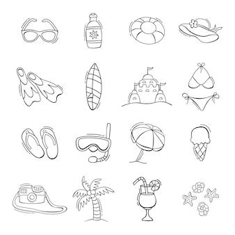 Набор рисованной летних иконок в стиле каракули