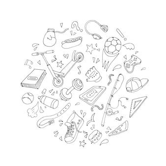 손으로 그린 십대 생활 방식 요소: 스케이트, 신발, 헤드폰, 스쿠터, 축구공, 박쥐. 포스터, 카드, 배경에 대한 낙서 스케치 스타일 디자인. 브러시 펜으로 그린 벡터 일러스트 레이 션