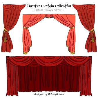 赤の色調の劇場のカーテンの手描きセット