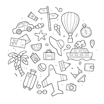 旅行の手描きのセット。落書きスケッチスタイル。旅行の要素。