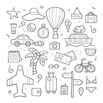旅行要素の手描きのセット。外形図