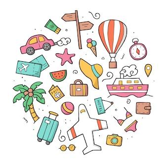 カラーの旅行の手描きのセット。落書きスケッチスタイル。旅行の要素。外形図