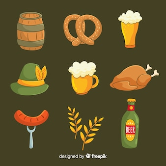 Hand drawn set of oktoberfest elements collection