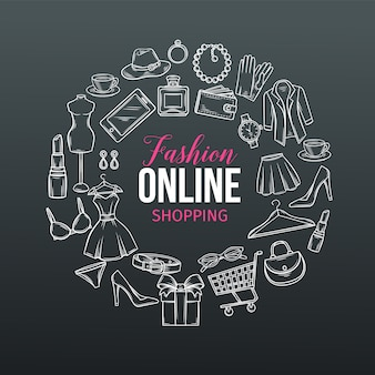 Hand drawn set of online fashion shopping icons