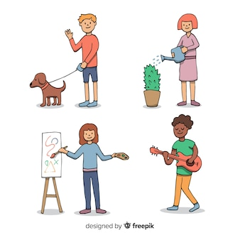 Hand drawn set of people doing activities