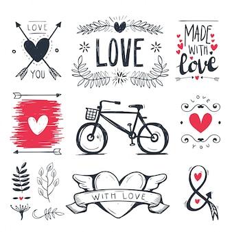 Hand drawn set of romantic doodle elements .