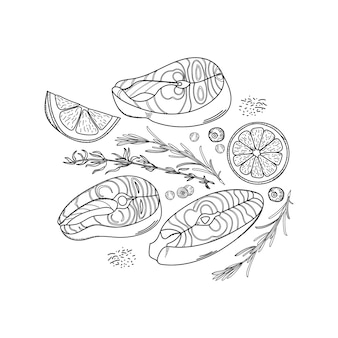 Hand-drawn set of salmon steaks, lemon slices, rosemary, thyme and black pepper peas.