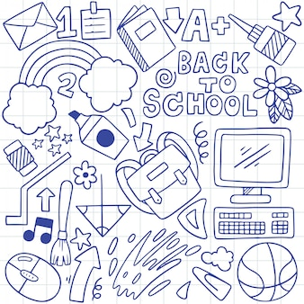 Hand drawn set of school icons ornaments background pattern