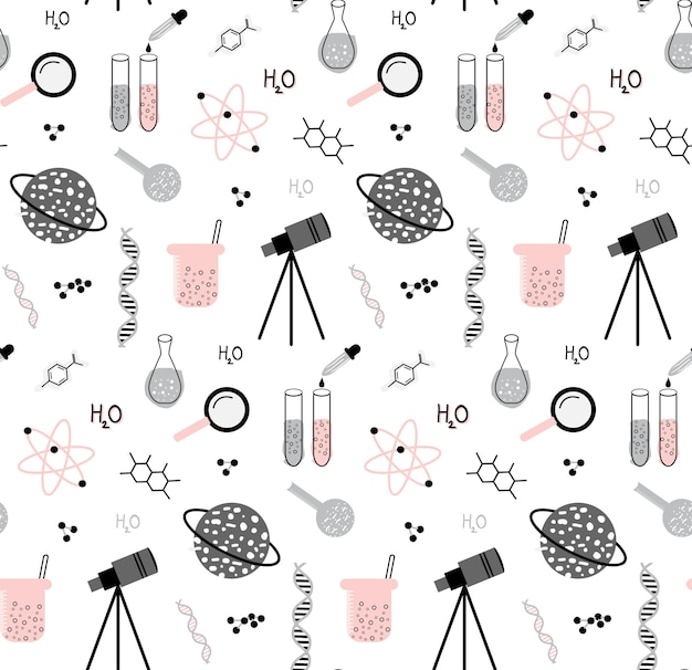Hand drawn set of science elements seamless pattern