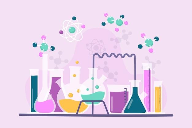 Insieme disegnato a mano di oggetti di laboratorio di scienza