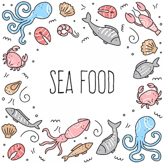 Hand drawn set of seafood elements. doodle style  illustration.