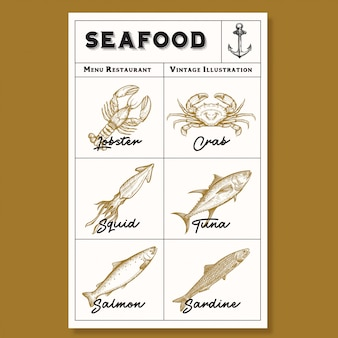 Hand drawn set of seafood icons. engraved art.
