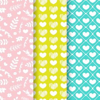 Hand drawn set of seamless patterns