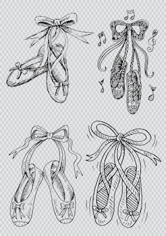 Hand drawn set of shoes ballet