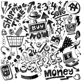 Hand drawn set of shopping doodles with lettering