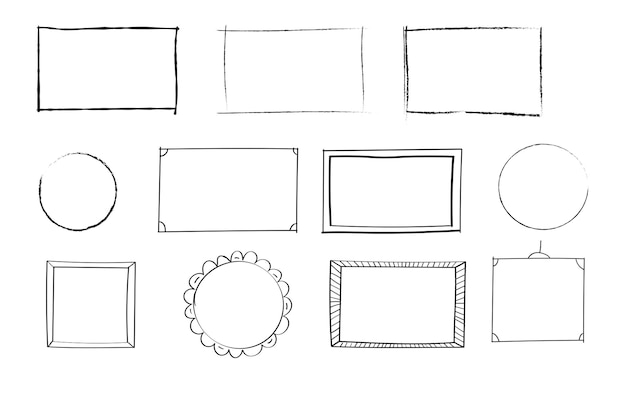 Hand drawn set of simple frames and borders with different shapes  rectangular square oval