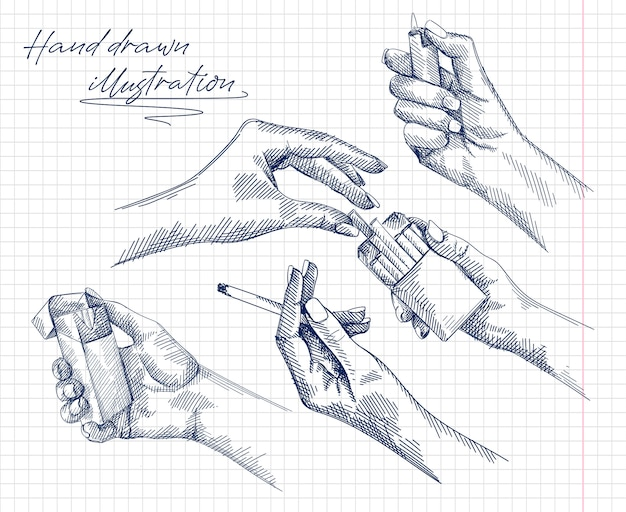 Hand-drawn set of sketches of a woman hand holding and burning a cigarette, female hands getting a cigarette out of the cigarette pack, hand holding a lighter. female hand lighting a lighter.