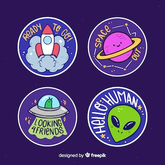Hand drawn set of space stickers