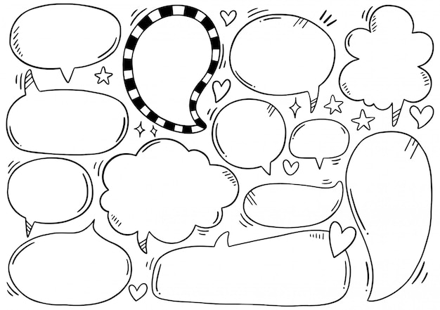 Hand drawn set of speech bubbles in doodle style