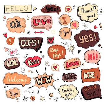 Hand drawn set of speech bubbles with dialog text: hi, love, yes, welcome, bye.  comic doodle sketch style. text and speech balloon element drawn with a brush-pen. vector illustration for icon design.