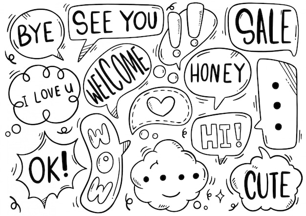 Hand drawn set of speech bubbles with text in doodle style