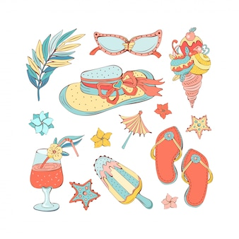 Hand drawn set of summer icons in vintage style