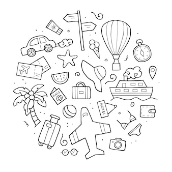 Hand drawn set of travel. doodle sketch style. elements of traveling.