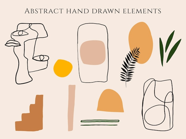 Hand drawn set of various shapes line art organic objects tropical leaves abstract face