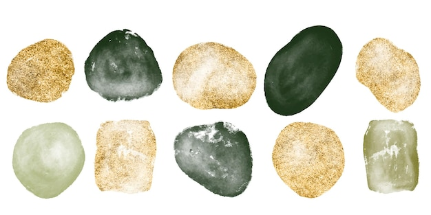 Hand drawn set of various watercolor gold and gree shapes and organic objects