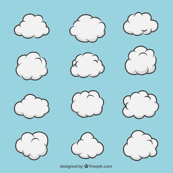 Hand-drawn set of white clouds