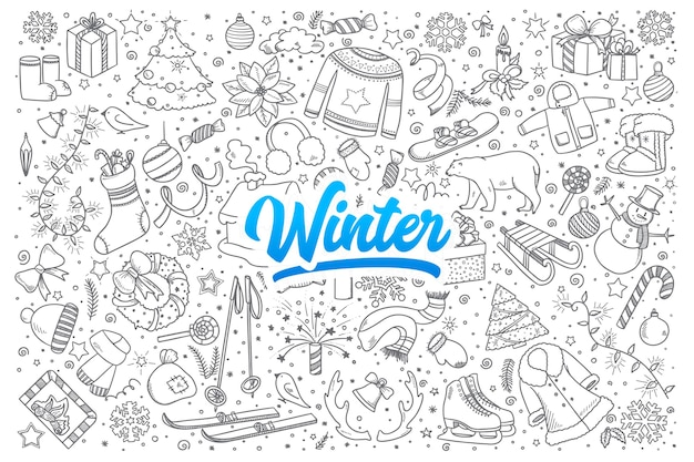 Hand drawn set of winter doodles with blue lettering