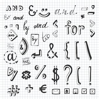 Нарисованный вручную набор с знаками социальных сетей и символами. ключевые слова и, для,,,,. элемент дизайна