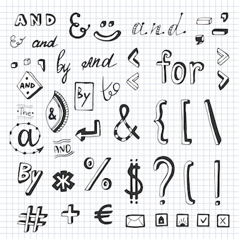 Hand drawn set with social media sign and symbol doodles. catchwords and, for, to, the, by. design element