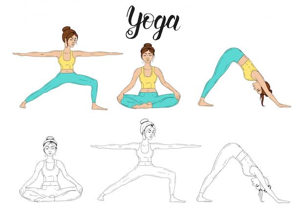 Hand drawn set with young girl practicing yoga in color and doodle. adho mukha shvanasana, virabhadrasana ii pose, padmasana