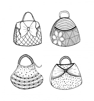 Hand drawn set of woman's handbag. doodle, ornate, ornament style