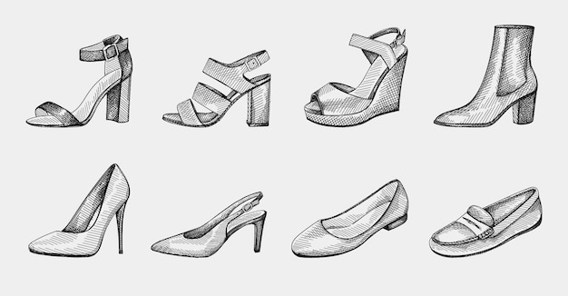 Hand-drawn set of women shoes. block heels, ankle booties on medium heel, ballerina flats, pumps, stiletto, open toe sandals, slingback medium heel, wedge sandals, loafers, slippers, moccasins.