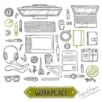 Hand drawn set of work and business elements top view. workplace top view