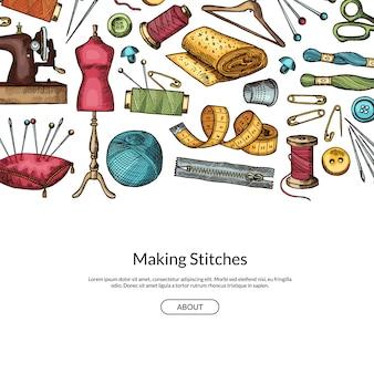 手の描かれた縫製要素背景イラストのテキストのための場所