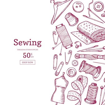 Hand drawn sewing elements background illustration with place for text