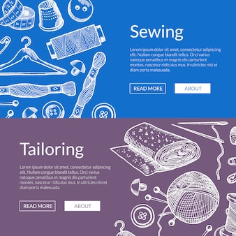 Hand drawn sewing elements horizontal web banners illustration