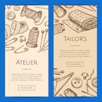 Hand drawn sewing elements vertical web banners illustration