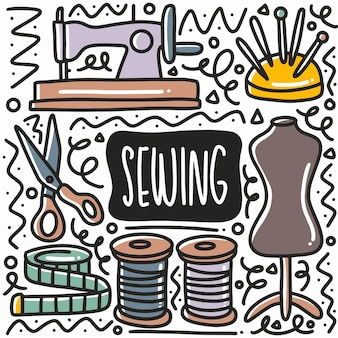 Hand drawn sewing equipment doodle set with icons and design elements