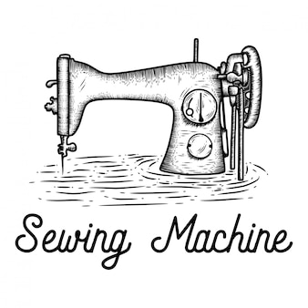 Hand drawn sewing machine
