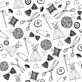 Hand drawn sewing seamless background, doodle handmade, hobby wallpaper, wrapping paper. black and white