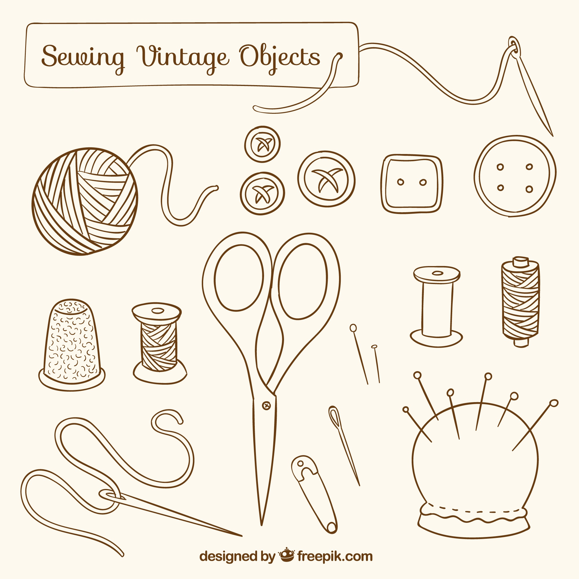 Hand drawn sewing vintage objects