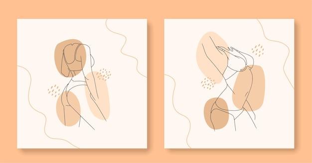 Нарисованное от руки сексуальное женское тело в линейном искусстве